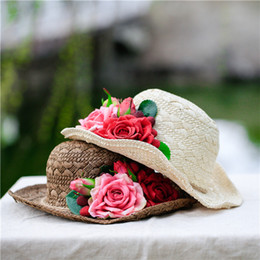 84da97d8 Handmade Straw Sun Hats for Women Vintage Flower Summer Beach Travel Round Straw  Hat Foldable Wide Brim Lady Sun Cap Flat Gorras