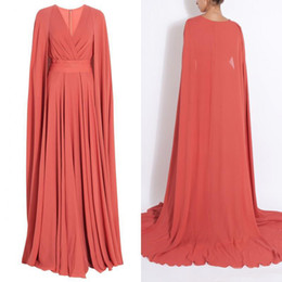 spring modest Canada - Modest Spring Muslim Long Evening Dresses Coral Chiffon A Line Surplice V Neck Prom Gowns with Cape Sweep Train Celebrity Dresses Custom