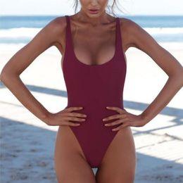 Swimsuit Sexy Sales Woman Australia - Soild Side Bikini Deep V Sexy Women Swimsuit One Piece Backless Halter Sleeveless Bathing Wear Hot Sale