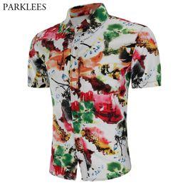 Chinese men s dress online shopping - Chinese Style Ink Paint Print Shirt Men Summer Short Sleeve Dress Shirts Mens Casual Slim Fit Hawaiian Shirt Male