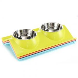 Discount cat stainless steel feeder Pet Dog Bowl Puppy Cat Bowls Water Food Storage Feeder Non-toxic PP Resin Stainless Steel Combo Rice Basin LJJP 203