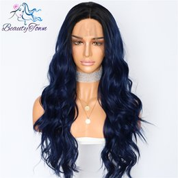 $enCountryForm.capitalKeyWord Australia - Beautytown Silk Dark Roots Ombre Blue Natural Wave Women Queen Daily Makeup Wedding Party Present Synthetic Lace Front Wigs Y190717