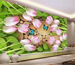 $enCountryForm.capitalKeyWord NZ - Paris Wall Mural Tulip Natural Wood Flowers Creative Stumps 3D Wallpaper Digital Printing HD Decorative Wall paper Beautiful Wallpaper