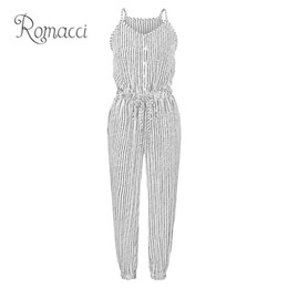 women buttons UK - Romacci Women Plus Size Jumpsuit Striped Buttons Spaghetti Strap Sleeveless Overalls Elastic Drawstring High Waist Casual Romper Y19051501