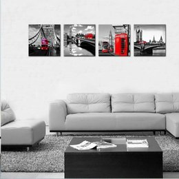 bedrooms paintings black white Australia - 4 Piece Canvas Painting Red London Bus Picture Print Black and White London Street View Wall Art Stretched Framed for Home Bedroom Decor