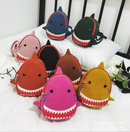 Orange yellOw schOOl bags online shopping - Baby Shark Backpack Cartoon Kids Canvas Cute School Bag D Animal Printed Kinderegarten Bags OOA6492