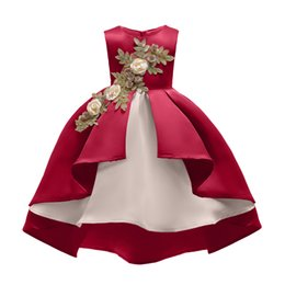 Satin lolita dreSS online shopping - Retail Baby Girls wedding dress Kids Irregular Embroidered Prom Dress Red Champagne Children Girls Satin Full dress Boutique clothes