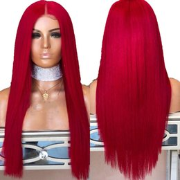 full lace human hair red 2019 - Red Full Lace Human Hair Wigs Pre Plucked With Baby Hair Long Straight Virgin Brazilian Glueless Red Lace Front Wig For