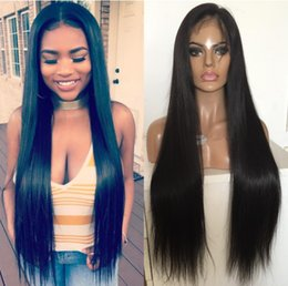 dark brown hair color celebrities Australia - Celebrity Wig Lace Frontal Wig Middle Part Straight Natural Black Color 10A Grade Chinese Remy Human Hair Full Lace Wigs for Black Women