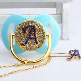 Garçons / Filles Personnalisé Bling Cristal Strass Sucette Clip Cadeau pour Babyshower Baptême Prince Princesse en Solde