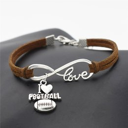 $enCountryForm.capitalKeyWord Australia - Hot Simple Style Dark Brown Leather Jewelry Silver Plated Infinity Love I Heart Football Charm Bracelet Bangles For Women Men Gift Wholesale
