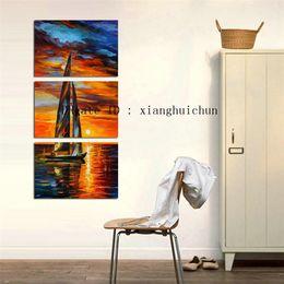 Leonid Afremov Canvas Prints Australia - Leonid Afremov : Sunset Sail Boat ,3 Pieces Home Decor HD Printed Modern Art Painting on Canvas (Unframed Framed)