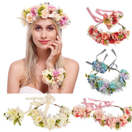 Daisies For Hair Australia - Adjustable Flower Crown and Bracelet Set Gorgeous BOHO headband with Wrist Band for women girls Daisy Rose white pink blue red beige Wedding