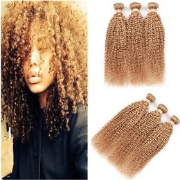 Discount honey blonde kinky curly hair - Virgin Peruvian Human Hair Kinky Curly Honey Blonde Bundles Deals 3Pcs Lot Pure 27 Blonde Virgin remy Human Hair Weaves