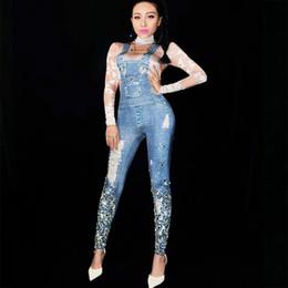 $enCountryForm.capitalKeyWord Australia - Bright Rhinestones Jeans Printed Jumpsuit Skinny Leggings Clothes Nightclub Show Women Birthday Prom Outfit Stage Dance Costume