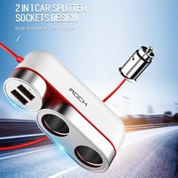 $enCountryForm.capitalKeyWord Australia - Rock 12V-24V Car Cigarette Lighter Socket Splitter Plug Dual USB Charger Adapter 4.8A 100W Detection For Phone DVR Accessories