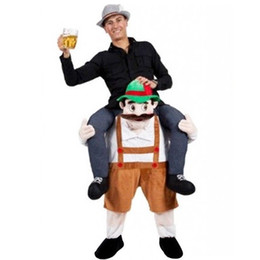 Wholesale piggy back resale online - Shoulder Ride On Mascot Costume Piggy Back Party Fancy Dress Carry Costume Beer Man Brown