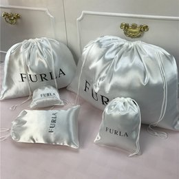Silk drawString Shoe bagS online shopping - Custom Logo Smoothly Silk Hair Bags Clothing Shoes Product Packaging Jewelry Gift Bright Satin Jewelry Dust proof Drawstring Bag