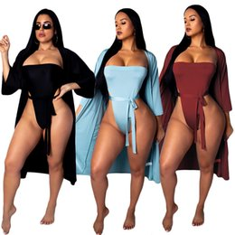 Wholesale Bandage Bikini Cover Set Women Swimsuit With Belt set Swimsuit Beach Sunscreen Coat Tracksuit Swimwear Clothing Set OOA6424
