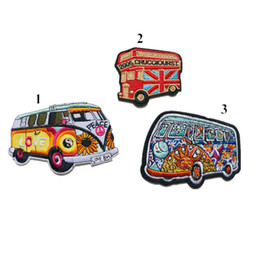 Uk Hats Australia - Embroidery Sew Iron On Patches Totem Peace Love Bus Red UK Embroidered Badges For Bag Jeans Hat T Shirt DIY Appliques Craft Decoration