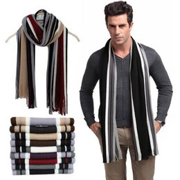 Striped Cotton Scarves Australia - CALOFE Winter Warm Scarf Men Striped Cotton Scarf Female & Male Brand Shawl Wrap Knit Cashmere Bufandas Striped