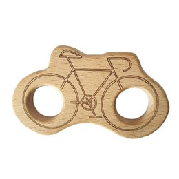kid bicycles UK - 10pcs Natural Wooden bicycle Teether Cartoon Animal Shape Wooden Baby Teether Toy Safe Newborn Kids Teething Toy Baby Shower Gift