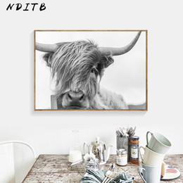 wall decor black art canvas Australia - Black White Cow Wall Art Canvas Posters and Prints Animal Painting Nordic Decoration Wall Pictures for Living Room Home Decor