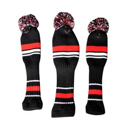 golf head covers sets Australia - One Set Black Red white Wool Knit Golf Clubs Set Driver 3# 5# Fairway Wood Head Covers