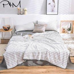 $enCountryForm.capitalKeyWord Australia - 2019 INS Nordic Grey Plaids Bedding Set Wash Microfiber Polyester 4pcs Summer Quilt Bedlinens Bedsheet Pillowcases