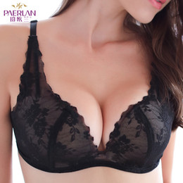towing straps NZ - PAERLAN Seamless Wire Free Lace Floral Boobs Push Up black Bra Deep V Sexy Tow Hook-and-eye Boobs Back Closure Underwear Women