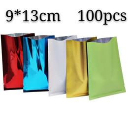 Discount heat sealed bag packaging - 9*13cm open top heat seal mylar packing bags 100pcs vacuum colorful valve package bag aluminum foil flat bottom power ba