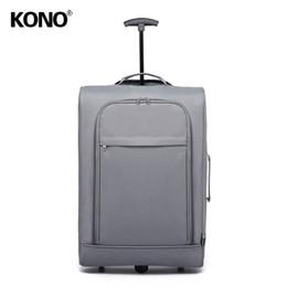 $enCountryForm.capitalKeyWord NZ - KONO Hand Luggage Suitcase Carry On Check in Trolley Case Bag for Boarding Travel School Soft Shell Oxford 20 Inch Grey YD1873