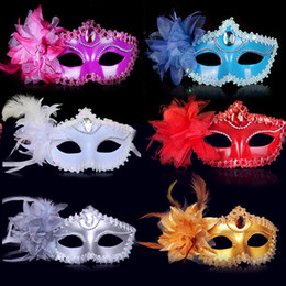 $enCountryForm.capitalKeyWord Australia - Masquerade Sexy Lace leather Party mask Venetian Flower Masquerade Half face Mask One Size Fits Most