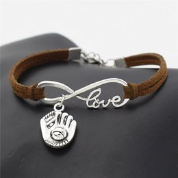 Leather Gloves For Men Australia - 2019 Infinity Love 3D Baseball Glove Sports Sign Bracelets Punk Dark Brown Leather Suede Cuff Bangles For Men Women Jewelry Accessories Gift