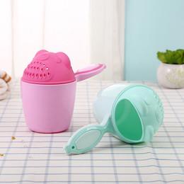 Baby Cartoon Bear Bathing Cup Newborn Kid Shower Shampoo Cup Bailer Baby Shower Water Spoon Bath Wash Cup For 2 Color EEA1406-2 on Sale