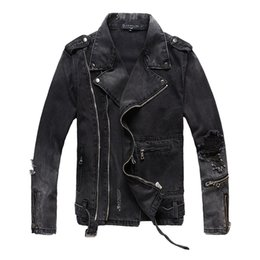 $enCountryForm.capitalKeyWord Australia - Black denim jacket men Ba lmain brand designer jacket Euro US Genuine Slim fit couple coat high quality trend Hole zipper youth coat