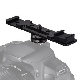 $enCountryForm.capitalKeyWord Australia - Aluminium Alloy Camera Dual Hot Shoe Extension Bar Mount Bracket Flash Adapter Holder 1 4 Inch Screw Mounts for Speed lite Light