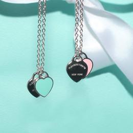 Love Chain Design Australia - 2019 Design Luxury Heart Love Necklace for Women Stainless Steel Accessories Zircon green pink Heart Necklace For Women Jewelry gift