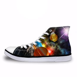 star shoes zapatos Canada - Customized Fashion Galaxy Star Print High Top Canvas Shoes Boys Men Lace-up Vulcanize Shoes Male Flats Sneakers Zapatos Homme