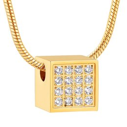 gold cube pendant necklace 2020 - IJD12841 Stainless Steel Cube Crystal Cremation for Ashes Gold Pendant Memorial Urn Necklace Keepsake Christmas Gifts fo