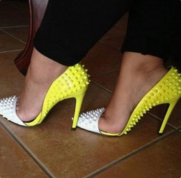 ecf392714066 Chic White Yellow Rivet Pumps Women Shoes Pointed toe Cut-out Patchwork  Studded Heels Women Shoes High Heels 2019 Spring New