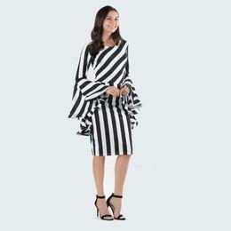 31d113fac19 Vertical Diagonal Stripes Dress Women Splice Flounce Sleeves Dresses Lady  Bodycon Dress Short Striped Patchwork Maternity Dresses GGA2054