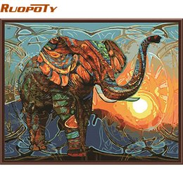 Vintage Number Plates Australia - Ruopoty Elephant Diy Painting By Numbers Animals Vintage Painting Acrylic Picture Home Wall Art Decor Unique Gift Wall Artwork Q190426