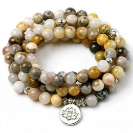 $enCountryForm.capitalKeyWord Australia - 8mm Bamboo Leaves Onyx Natural Stone Mala 108 Prayer Beads Necklace Bracelet Men Women Buddhist Om Charm Bracelet Yoga Jewelry Y19051101