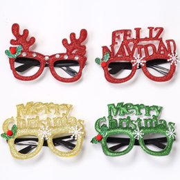 Family tree decor online shopping - Cartoon Merry Christmas Glasses Decorations Glittered Eyeglasses Frame No Lens For Kids Adults Family Xmas Party Decor