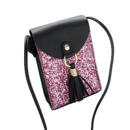 $enCountryForm.capitalKeyWord Canada - Cheap Ladies Fashion Solid Sequined PU Leather Handbag Women Tassels Cover Shoulder Bag Brand Fashion Design Bolsa Feminina #YL1
