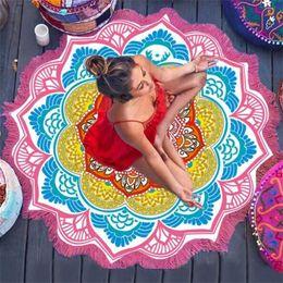 $enCountryForm.capitalKeyWord Australia - 147*147CM Round Yoga Mat Towel Tapestry Tassel Decor With Flowers Pattern Circular Tablecloth Beach Picnic Mat Drop Shipping