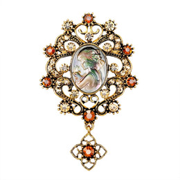 Mexican Abalone Shells Australia - Women Charm Brooches Abalone Pearl Shell Beauty Head Girl Goddess Pins Brooch Dress Suit Pocket Boutonniere Flower Crystal Pendant Pin