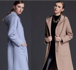 light blue wool winter coat Australia - woman winter wool coats hooded light blue camel 2018 fashion high quality maxmara cashmere coats ladies Outerwear woolen coats