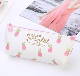 Min Cards Australia - 20pcs Fruit PU Zipper Long Pencil Case Cute Portable Min Key Coin Purse Makeup Bag